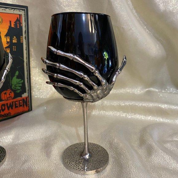 Skeleton Hand Stemmed Wine Glass Halloween 2 black